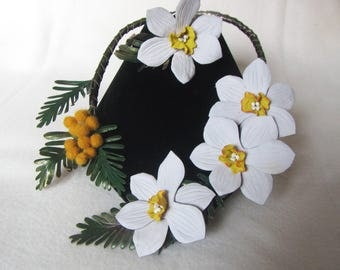 Leather necklace daffodils, Leather jewelry set flowers daffodils, Daffodils Necklace Easter,  Daffodils leather, Easter necklace daffodils