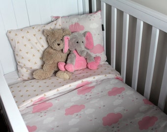 Girls Pink Cloud reversed with Gold Arrow Cot Set