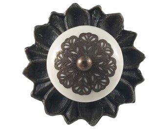 Cream Strewn Ceramic Knob with Metal Backplate Drawer Pull, Dresser Knob - i761BP1