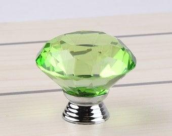 "Green Crystal Glass Diamond Shape 1.5"", 40mm Drawer, Door, Cabinet or Dresser Knob Pull - C10"