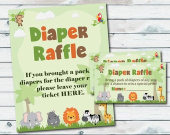 Safari Baby Shower Diaper Raffle Ticket And Diaper Raffle Sign, Printable Safari Diaper Insert And Sign, Safari Jungle Baby Shower Games