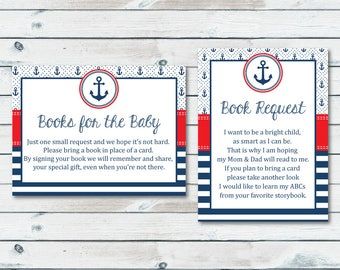 Nautical Bring A Book Instead Of A Card Inserts, Printable Books For The Baby Card, Anchor Baby Shower Stock Baby's Library