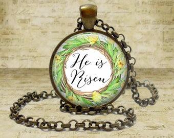Matthew 28:6 He is Risen Bible verse necklace Easter Gift Jesus Scripture Jewelry Bible Verse pendant Religious jewelry Spiritual jewelry