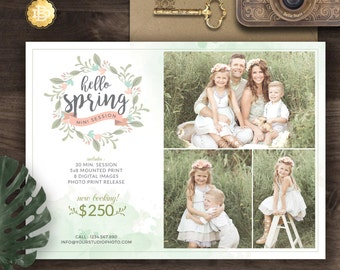 Spring Mini Session for Photographer, Photography Spring Mini Session Marketing Board, Spring Marketing Flyer - INSTANT DOWNLOAD - MS012