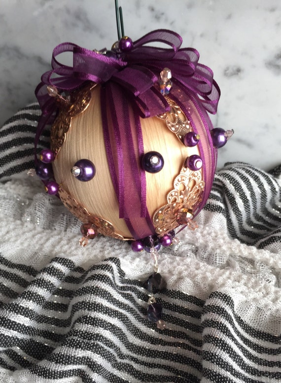 Handmade Christmas ornaments, handmade vintage ornament, handmade purple ornament, handmade beaded ornament, decorative x-mas ornament,
