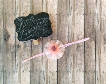 Pink rosette skinny elastic headband