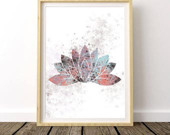 Bohemian Bedroom Wall Art, Boho Gift For Mom, Boho Chic Wall Art, Above the Bed Prints, Yoga Poster, Lotus Watercolor, Large Poster