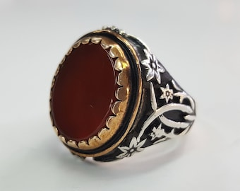 Men Ring - Turkish Ring - 925 Silver Ring - Carnelian Ring - Hand Made Ring - Turkish Jewelry - Re-Sizeable All Ring Sizes are Possible