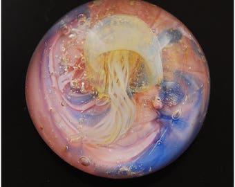 Handmade Jellyfish Pendant Cabochon jellyfish Lampwork Glass, Cabochon Glass jewelry womens jewelry, Lampwork pendant, glass cabochon