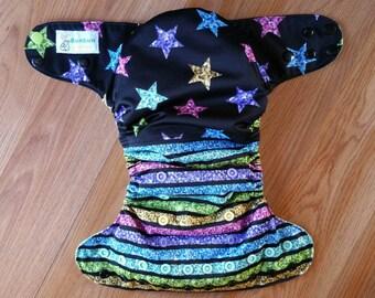 Bling stars and stripes cloth diaper - AIO cloth diaper - one size cloth diaper - Newborn cloth diaper - hemp bamboo - wahm cloth diaper