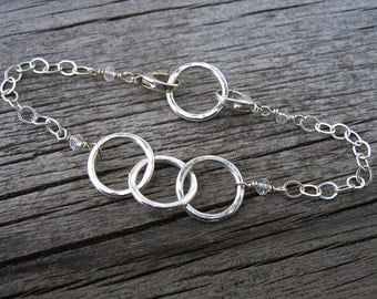 Simply Circles fine and sterling silver modular add a charm bracelet // made to order