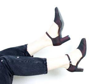 French Vintage 1990s Heeled MaryJanes /  Burgundy Iridescent 90's Mary Jane Pumps Ankle Strap Evening Heels Shoes / Womens Size US 6 EU 37.5