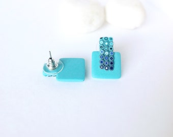 Turquoise Stud Earrings , Polymer Clay Earrings,  Modern jewelry,  Small stud earrings, Contemporary earrings, Minimalist earrings