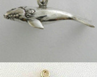 Blue Whale Sperm Whale Right Whale Charm Pendant Sterling  Silver Gold Vermeil 3D 3 Dimensional FREE SHIPPING