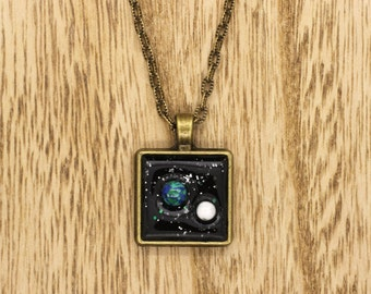 Earth & Moon In Space Resin Cabochon Pendant On Bronze Tone Necklace