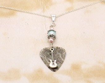 Abalone Guitar Pick With Electric Guitar & Beads Pendant On Silver Plated Chain Necklace