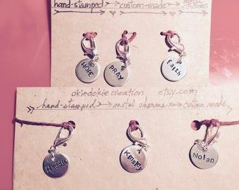 Hand Stamped, Custom-made, 3 Half-Inch-Circle Metal Charms with Lobster-Clasp.