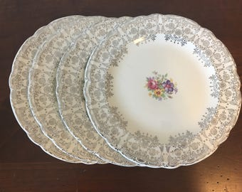 French Saxon China Bread Plates - Set of 4 - Silver Symphony / Vintage Floral Dessert Plates