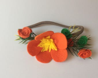 Elena of Avalor Inspired Felt Flower Crown with green, yellow, and orange flowers on a nylon headband baby toddler costume
