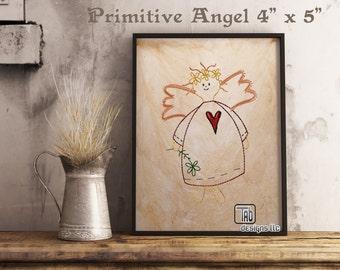 "American Folk Art Primitive Angel Machine embroidery design 4"" x 5"""