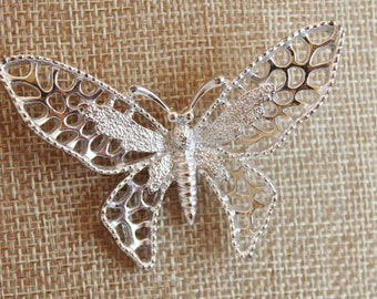 Vintage Silvertone Butterfly Sarah Coventry brooch