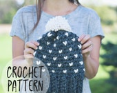 Fair Isle Crochet Hat Pattern | The Rapids Hat Crochet Pattern | Crochet Hat Pattern. DIY Hat Pattern.  Fair Isle Hat with Pom Pom.