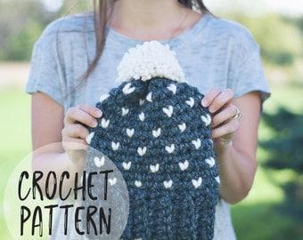 The Rapids Hat Crochet Pattern | Crochet Pattern.  Hat. Crochet Hat. DIY Hat Pattern.  Crochet Fair Isle. Craft supply. Mini hearts.