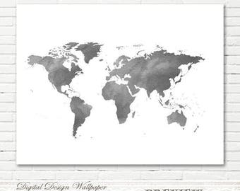 Watercolor world map etsy grey watercolor world mapworld map watercolorprintable watercolor world mapworld map sciox Image collections