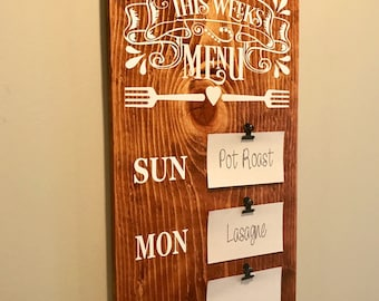 Menu Board, Meal Planning Sign, Weekly Meal Planning, Wooden Menu Board, Farmhouse Decor, Wooden Kitchen Sign