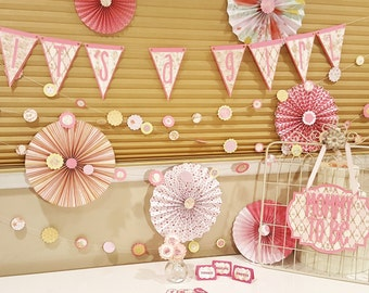 Baby Shower Decor Set - Complete Party Set for 12