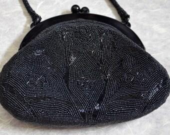 Vintage beaded bag - black flowers  - kimono bag