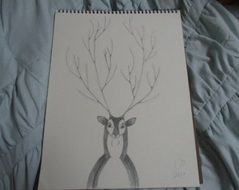 Original Spring Decor Doe Deer Art Buck Artwork Pencil Drawing One of a Kind
