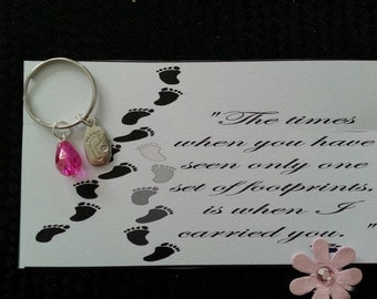 Footprints in the sand keyring..Remembrance keyring..baby boy keyring..baby girl keyring..gift for her..