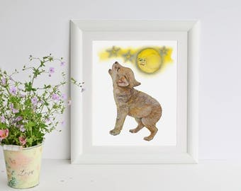 Wolf Cub Baby Wolf Print Watercolor Painting Baby Animal Print Wolf Art Whelp Woodland Nursery Wall Art Boy Girl Wolf Cub Howling Moon