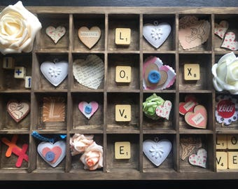 Heart box, anniversary gift, shadow box, romantic gift, wedding gift, printers tray, hearts, engagement gift, wooden hearts, wife present
