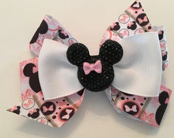 Minnie Mouse Hair Bow Pink and Black Minnie Bow Glittery Minnie Bow Disney Hair Bow Disney Minnie Bow Pink and White Minnie Mouse Bow