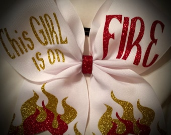 This Girl on FIRE~Glitter CHEER Bow Available in White or Black