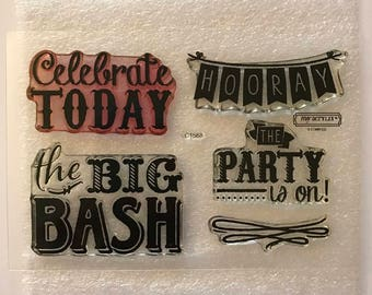 The Party Is On / Close To My Heart / CTMH / C1568 / Acrylic Stamp Set / Clear Stamp Set / Cardmaking / Scrapbooking / Celebrate / Hooray