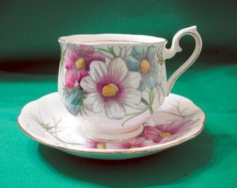 Pretty Cosmos Cup and Saucer, Royal Albert, 1950's - 60's, Flower of the Month