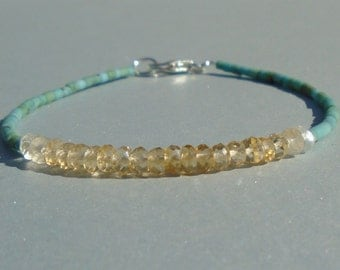Citrine Bracelet, Turquoise Bracelet, November Birthstone, Gemstone Bracelet, Dainty Bracelet