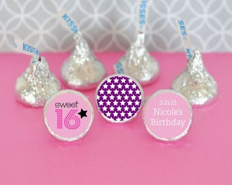 Personalized Sweet 16 or 15 Hershey's® Kisses Labels Trio (Set of 108)