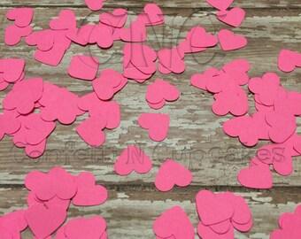 Hot Pink Heart Confetti, pink Confetti, Bachlorette party decor, neon confetti, girl birthday party decor, lingerie party confetti, hearts