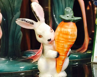 Goebel Bunny Rabbit holding a Giant Orange Carrot Salt and Pepper Shakers made in Germany circa 1950s