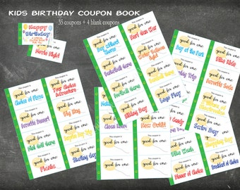 Kids Happy Birthday coupon book. 35 coupons + 4 blank coupons. Child Birthday gift. Instant printable. PDF. Birthday gift for Boy or Girl.