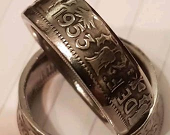 1953 two shilling coin ring