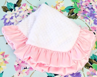 White with Light Pink Satin Ruffle Minky Baby Girl Lovie | Light Pink, Blush, White, Soft,  Minky Baby Girl Security Blanket