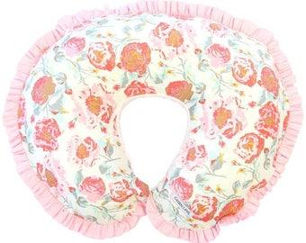 Felicity's Vintage Floral  | Pink & Aqua Ruffled Nursing Pillow Cover