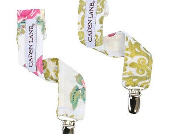 Olivia's Floral Girl Pacifier Clip   Pink, Gold, White, Damask, Floral, Birds, Sweet Baby Girl Paci Clips (set of 2)