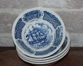 Blue Fair Winds Berry Bowls set of 4, mix and match blue transferware china