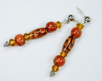 Earrings brown yellow red with wood beads wood beads on silver ear plugs made of stainless steel - hang earrings Pearl Earrings jewelry Pearl
